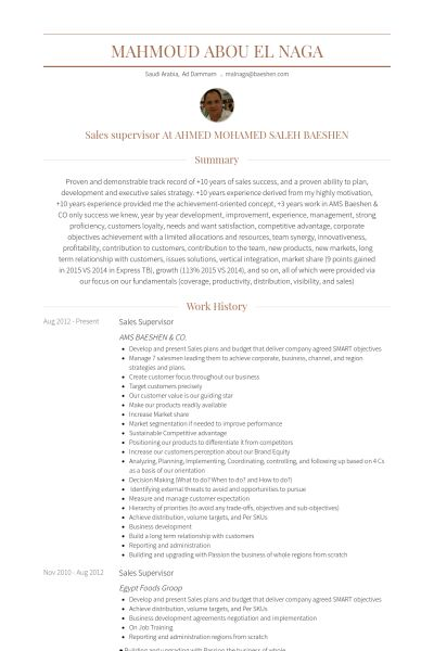 Sales Supervisor Resume samples - VisualCV resume samples database