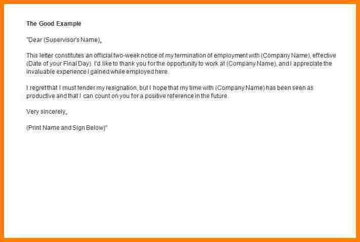 6+ 2 week notice example | letter format for