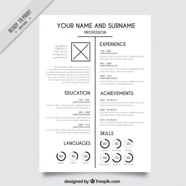 Elegant White Resume Template Vector | Free Download