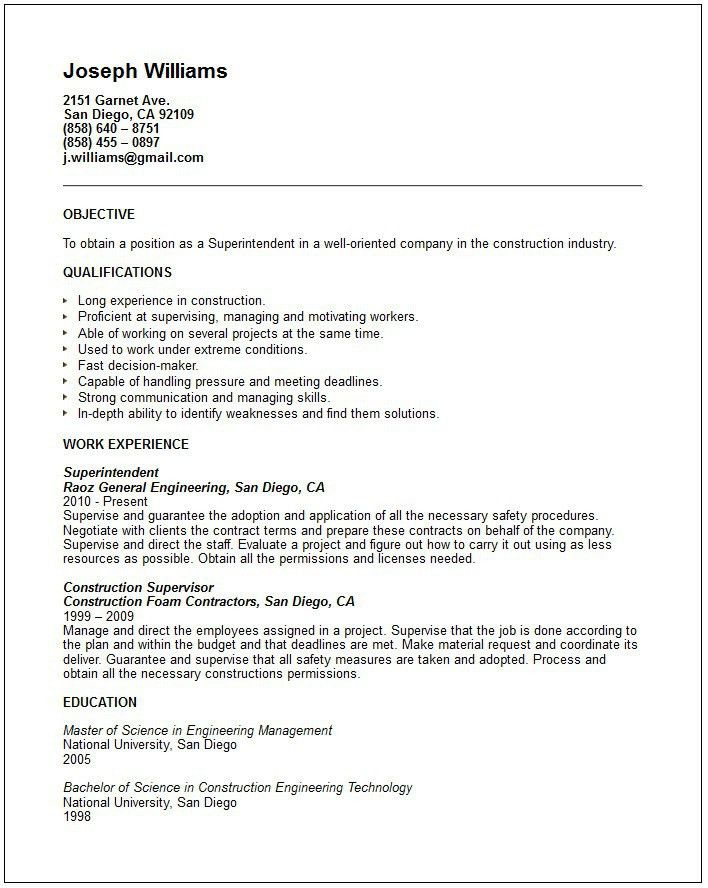 Unbelievable Construction Superintendent Resume 7 Residential ...