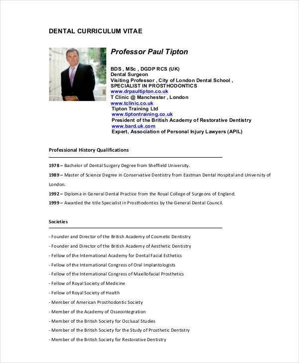 Dentist Curriculum Vitae Templates - 8+ Free Word, PDF Format ...