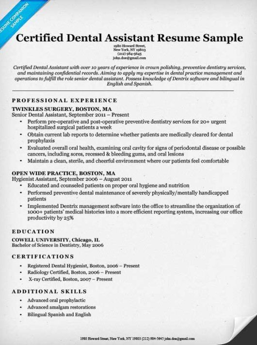dental resume examples writing tips resume companion - Dental Assistant Resume Templates