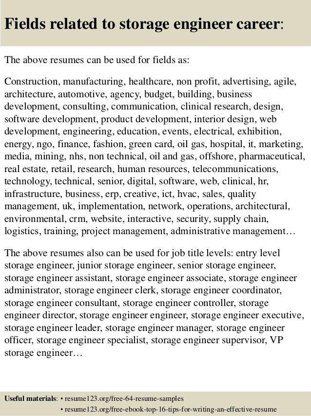 Senior Storage Engineer Sample Resume 21 - uxhandy.com