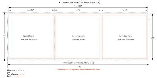 CD Jewel Case 6 panel Insert Templates for Duplication and Replication