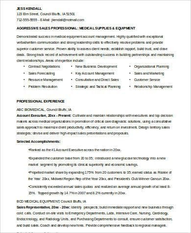 Sample Medical Sales Resume - 8+ Examples in Word, PDF