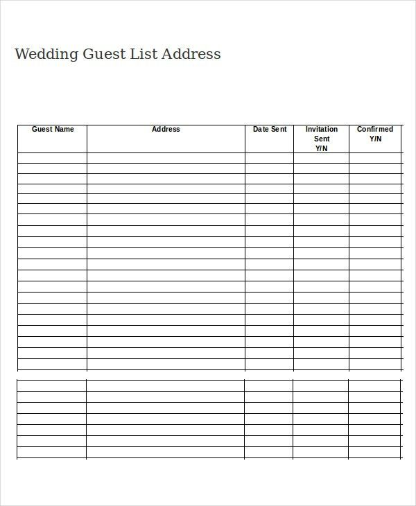 Wedding Guest List Template Free 7 Free Wedding Guest List – Address List Template
