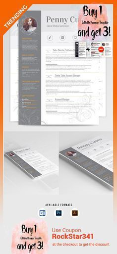 Resume Template and FREE Cover Letter, Resume Word, Photo Resume ...