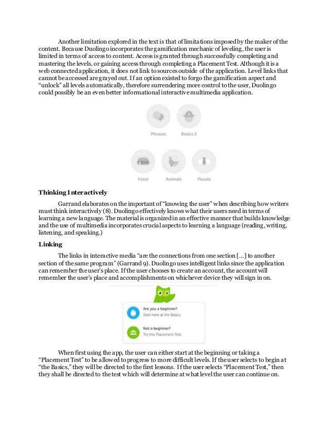 Informational Interactive Media Critique: Duolingo mobile app