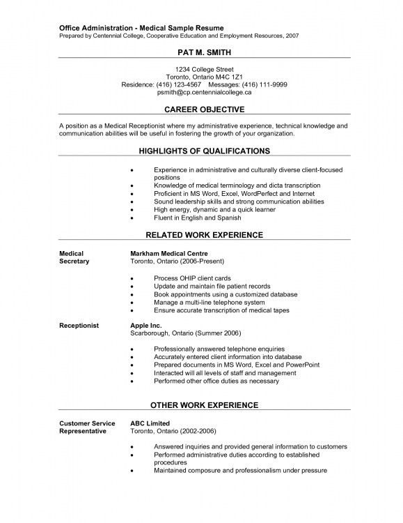 receptionist objective healthcare medical resume medical ...
