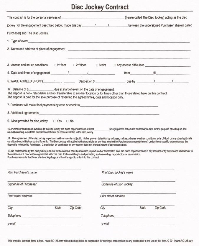Free and Printable Disc Jockey Contract Form - RC123.com - d j ...