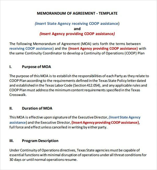 Memorandum of Agreement - 9+ Free PDF , DOC Download