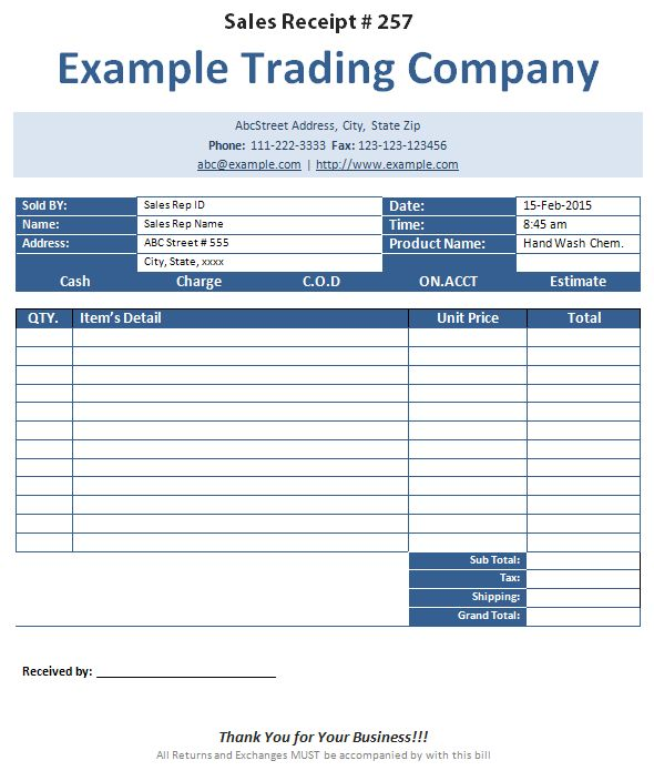 Sales Receipt Template - formats, Examples in Word Excel