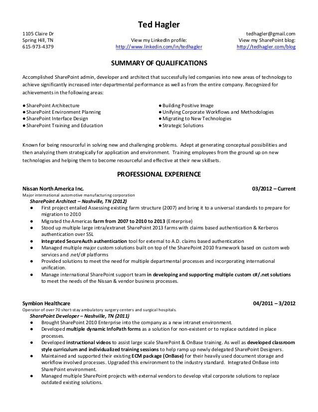 Sharepoint Developer Resume | haadyaooverbayresort.com