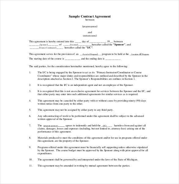 9+ Contract Agreement Templates - Free Sample, Example, Format ...