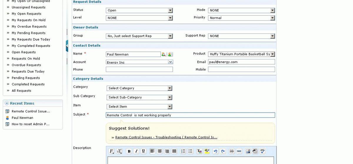 Acivities - ManageEngine SupportCenter Plus