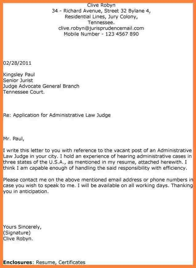 administrative law judge cover letter