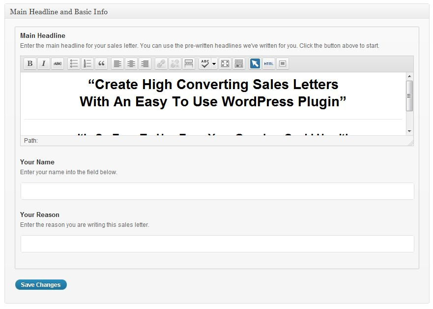 WordPress Sales Letter - WP Sales Letter Plugin