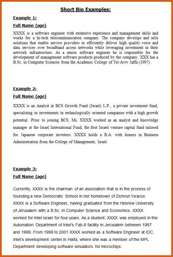 short professional bio examples | apa examples