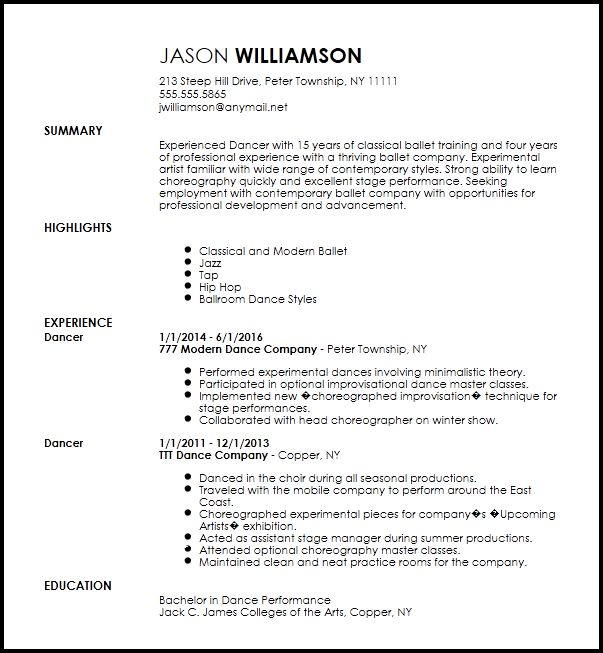 Free Contemporary Dancer Resume Template | ResumeNow