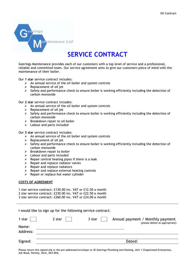 Contract Of Services Sample] General Contract For Services Form ...