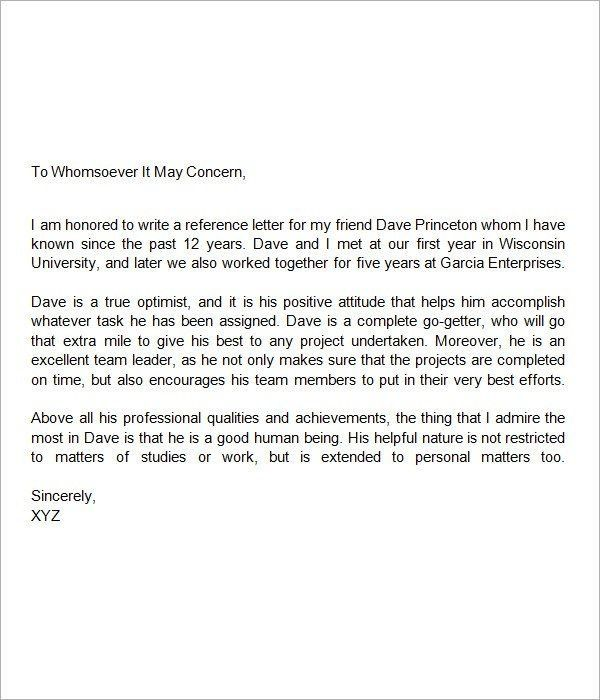 Housing Reference Letter. Personal Recommendation Letter For ...