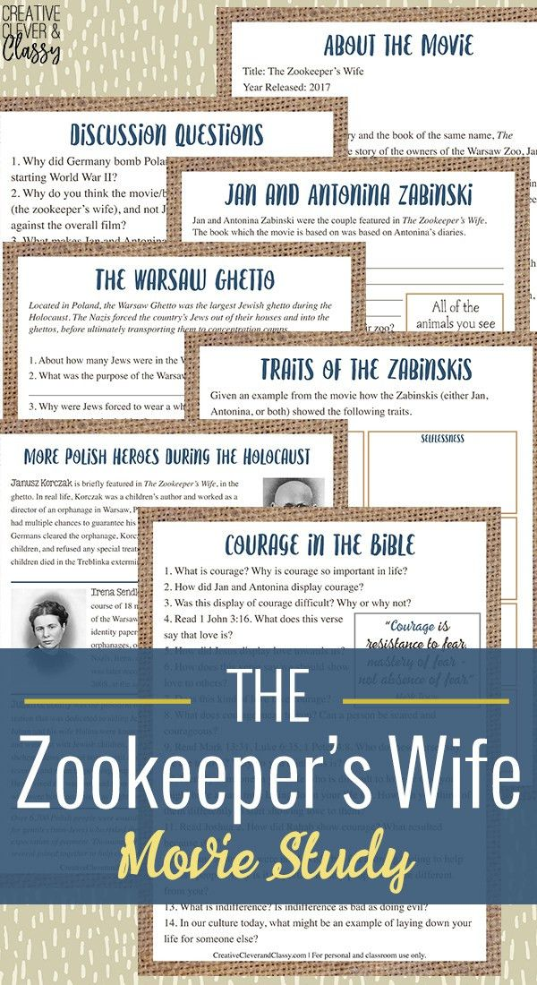 The Zookeeper's Wife Movie Study Worksheets with Discussion Questions