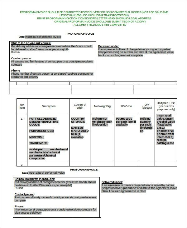 Sample Commercial Invoice - 7+ Documents in Word, PDF