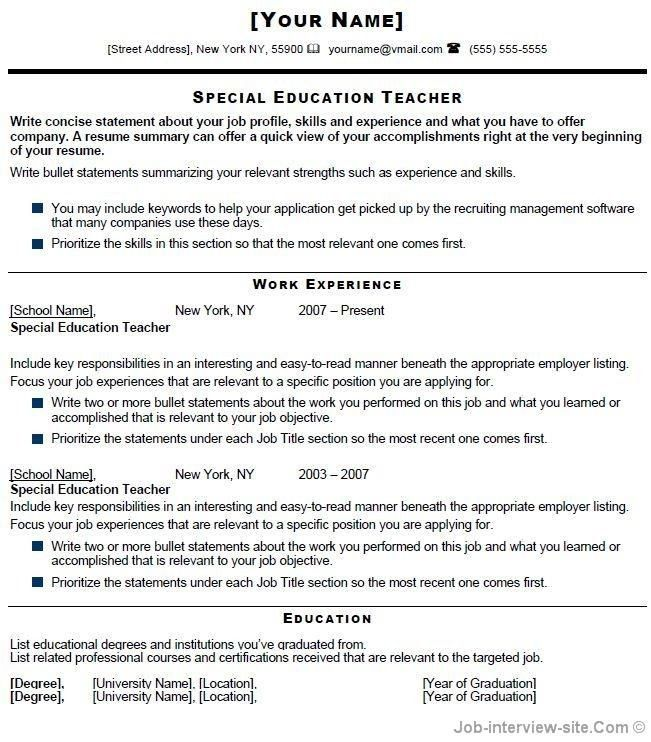 Special Education Teacher Resume Examples - Best Resume Collection