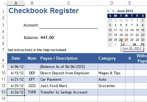 excel checkbook template 2010