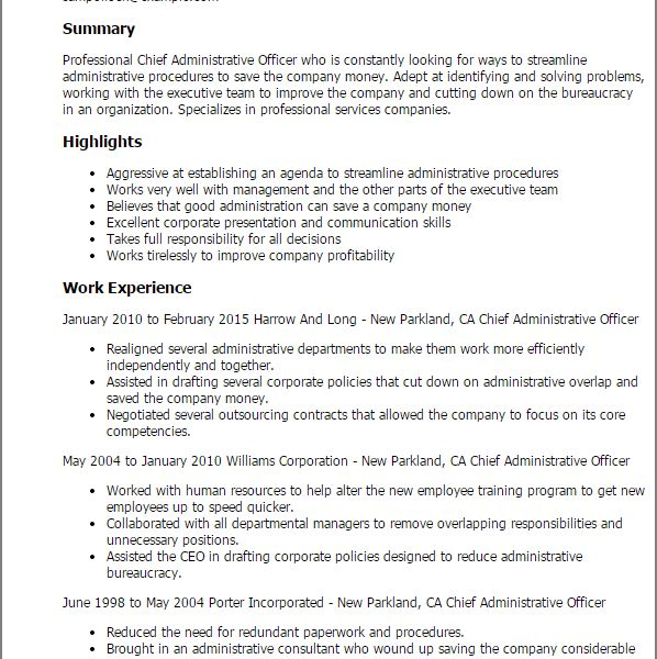 Grand Administrative Manager Resume 9 Professional Chief ...