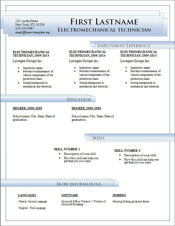free downloadable resume templates microsoft word google docs ...