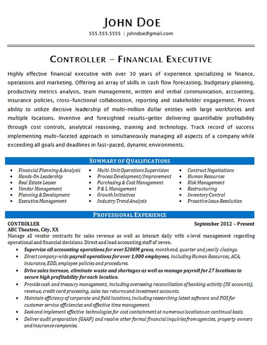 Controller Resume Example - Financial & Operations Executive