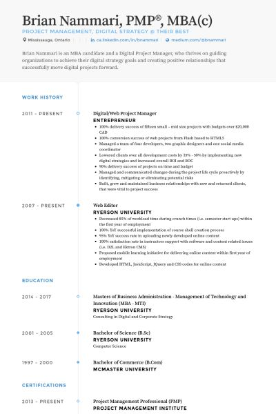 Web Project Manager Resume samples - VisualCV resume samples database