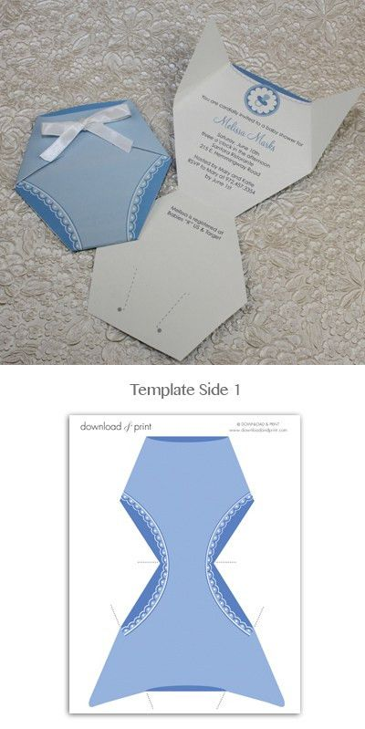 Baby Shower Invitation Template: Baby Boy Diaper | Baby shower ...