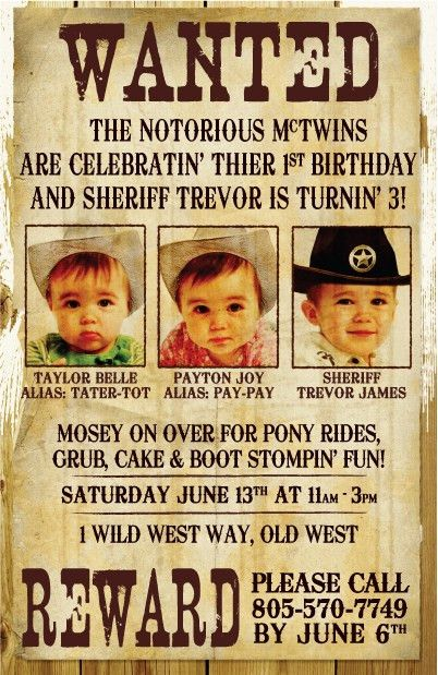 Wanted Party Invitations Kids Western Theme Party Invitation For ...