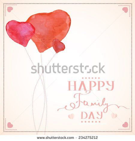 Happy Family Day Greeting Card Template Stock Vector 234275215 ...
