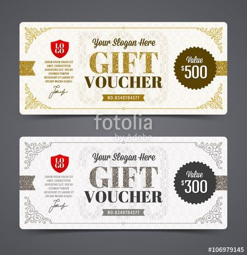 Gift voucher template with glitter gold and silver, Vector ...