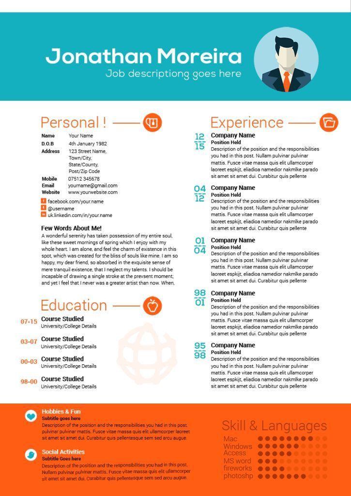 65 best Creative resume templates images on Pinterest   Resume ...