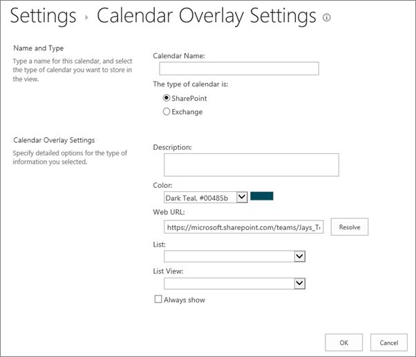 Overlay a SharePoint calendar with a calendar from Exchange or ...