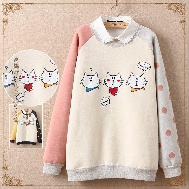 Cute cat printed fleece pullover Cute Kawaii Harajuku Fashion ...