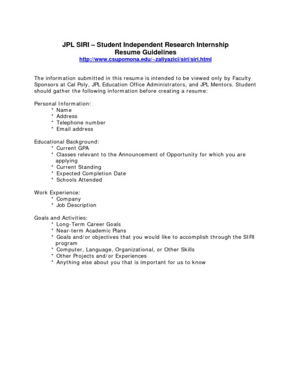 Free Printable Internship Resume Format with Work Experience and ...