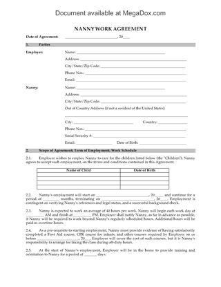 Nanny and Childcare Forms | Legal Forms and Business Templates ...