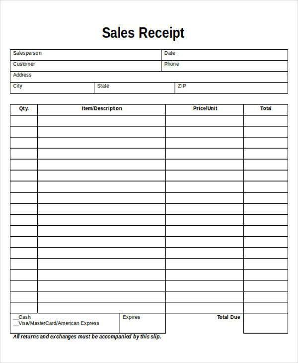 Printable Sales Receipt Sample - 5+ Examples in Word, PDF