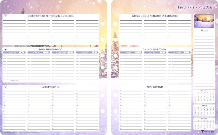 Planner Pads: 2018 Seasons Loose Leaf Planner Personal Size