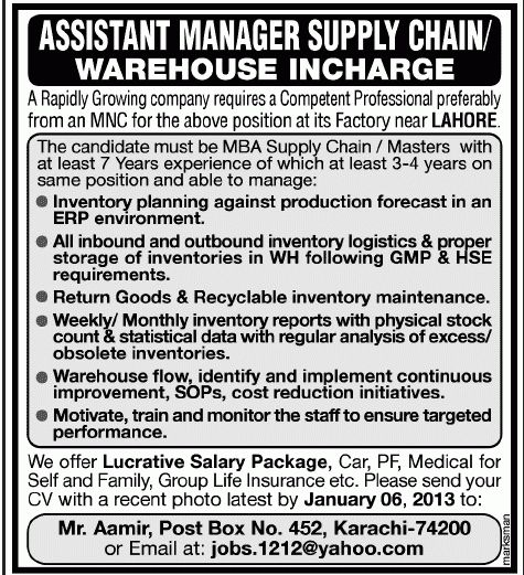 Assistant Manager Supply Chain Jobs in Lahore