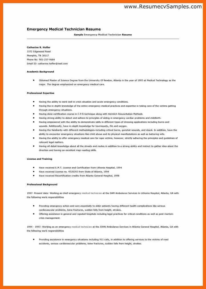 Emt Resume Samples Emergency Medical Technician Resume Template