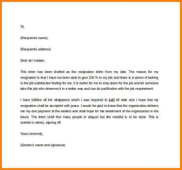 Official Resignation Letter. The Above Are Some Standard Formal ...