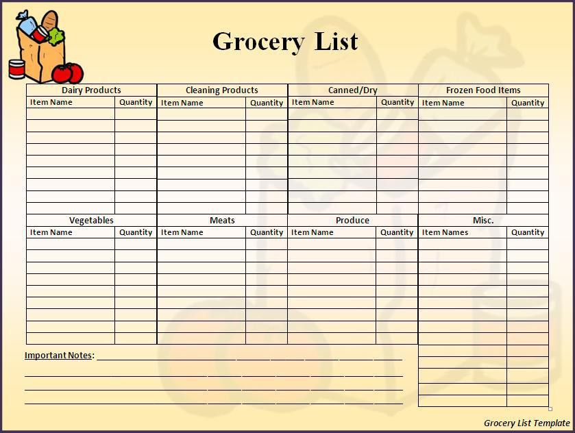 Grocery List Template - Best Word Templates