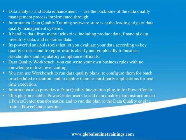 INFORMATICA Data Quality Training | IDQ 9.1 Online Course - GOT