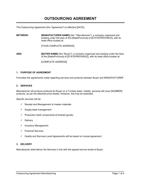 Outsourcing Agreement Manufacturing - Template & Sample Form ...